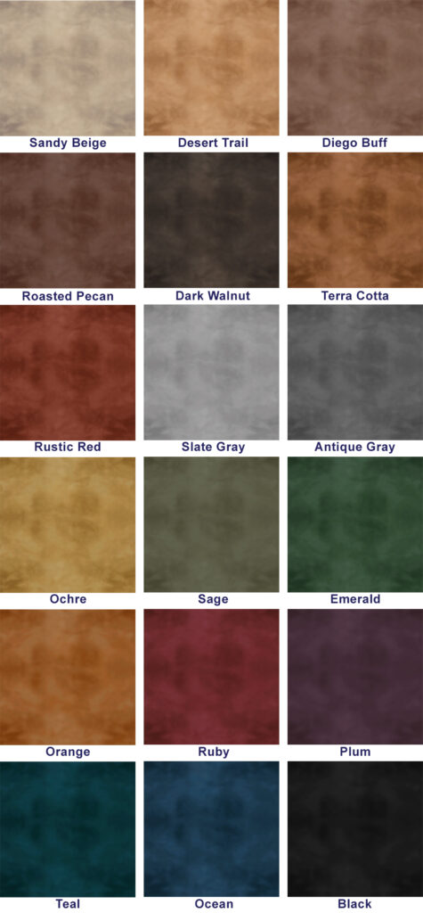 A color swatch of the decorative concrete stain colors available for a mottled or uniform application.